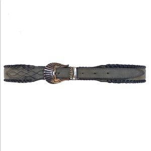 Nocona Leather Braided Silver Buckle Belt